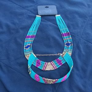 Beaded colorful necklace choker set